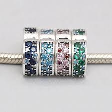 pandora charm bracelet clip images Blue green purple mosaic clear cz spacer clip beads fit pandora jpg