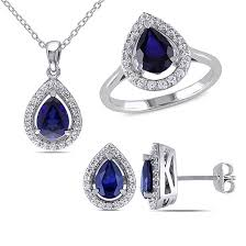 blue sapphire necklace set images Lab created blue sapphire and diamond sterling silver earrings