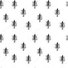seamless christmas tree pattern hand drawn background for design
