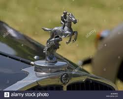 car bonnet ornament chrome reflection classic rider stock