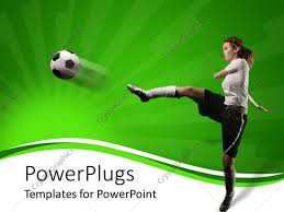 powerpoint template a female football player hitting the ball