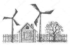 drawing of wooden house with wind power plants u2014 stock vector