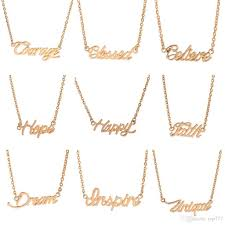 monogram necklace gold wholesale fashion gold plated monogram necklace words pendant
