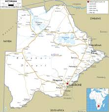 World Map With Cities by Large Road Map Of Botswana With Cities And Airports Botswana