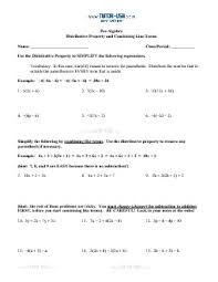 worksheet distributive property u0026 combining like terms pre