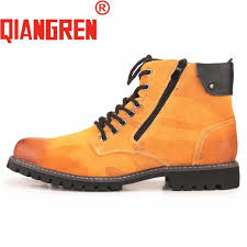 yellow boots s shoes qiangren brand arrive s genuine leather rubber