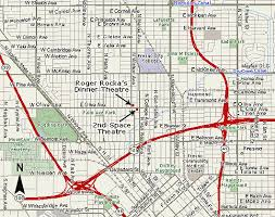 map of fresno location map for roger rockas dinner theatre and the 2nd space