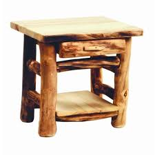 Rustic End Tables Rustic 1 Drawer Log End Table Country Western Cabin Wood Living