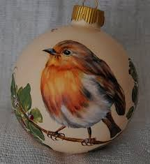 birds painted ornaments european robin