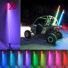 led light whip for atv 6 feet 20color 21 mode rgb led light whip antenna flag for atv utv