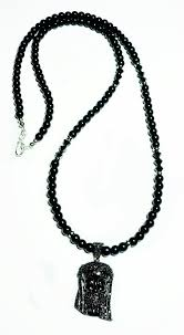 swarovski black necklace images Black jesus black swarovski jewel pendant and black onyx bead necklace jpg