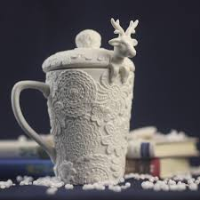fancy coffee cups christmas mugs milk tea cups snow ceramic mug 3d amimal couples