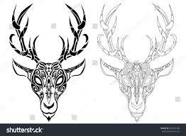celtic pagan deer head antler buck stock illustration 587397746