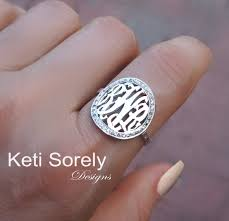 Ring With Initials Monogrammed Initials Ring With Cz Stones Customize It With
