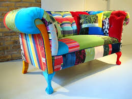Colourful Upholstery Fabric Contemporary Classic Upholstered Sofas With Mixed Fabrics