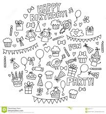 vector kids party coloring page children birthday icons in doodle