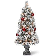 national tree 3 foot snowy bristle pine tabletop tree with and