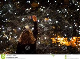person taking a photo of a big outdoor christmas tree at night