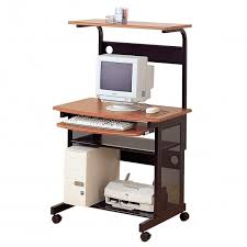 Small Rolling Computer Desk Small Rolling Computer Desk W Keyboard Tray Printer Shelf And