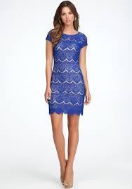 bebe open back lace dress in blue lyst