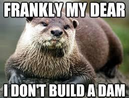 Meme Pun - frankly my dear i don t build a dam otter pun quickmeme