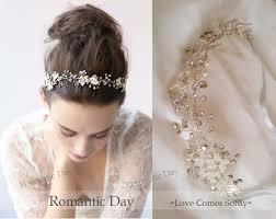rhinestone headbands gold handmade pearl ribbon wedding headband free bend never fade