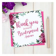 thank you bridesmaid cards personalised thank you bridesmaid floral card chi chi moi