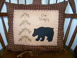 free images for primitive decor black bear pillow primitive