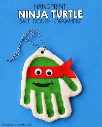 handprint mutant turtle salt dough ornament dough