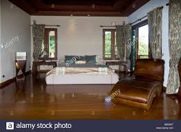Asia Villa Luxurious Tropical Villa Bedroom With Highly Polished Teak