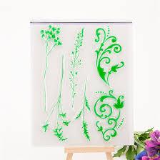 green branch for wedding gift DIY scrapbook paper card rubber transparent clear stamp paper card for