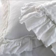 White Linen Side Ruffle Linen Pillow Shams Shabby Chic Style Shabby And Ruffles
