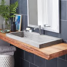 native trails trough stone rectangular drop in bathroom sink