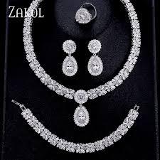 necklace earring bracelet set images Zakol luxury zircon bridal wedding jewelry sets exquisite zirconia jpg