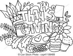 thanksgiving doodle draw vector illustration vector