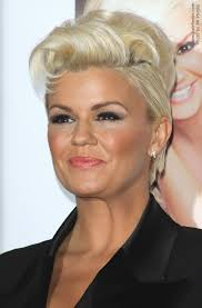 product for tucking hair behind ears kerry katona wearing her short blonde hair tucked behind her ears
