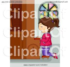 clipart of a white kneeling and praying at a church