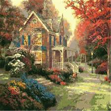 cottage painting coloring by numbers diy painted wall