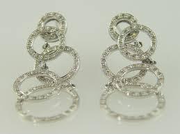 white gold dangle earrings 14kt white gold diamond 1 00ct circle dangle earring diamond factory