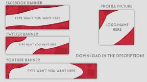 banners and logo template red and clear youtube