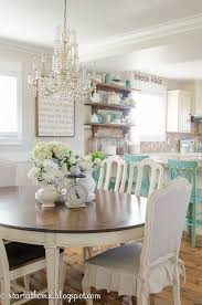 Aqua Dining Room Cottage Farmhouse Style Decorated In Shades Of White And