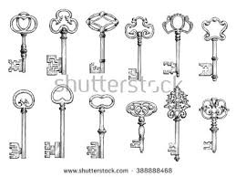 ancient keys vintage engraving sketches ornamental stock vector