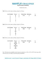 theoretical probability worksheet worksheets