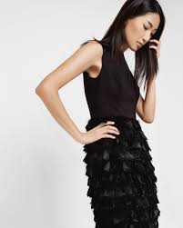 ted baker feather skirt dress in black lyst