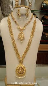 bridal jewelry necklace set images Gold bridal jewellery set long necklace collections pinterest jpg