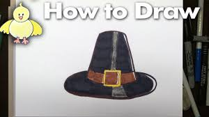 drawing how to an easy pilgrim hat step by step for thanksgiving