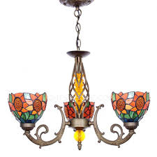 multi color glass shade 3 light antique chandeliers for sale