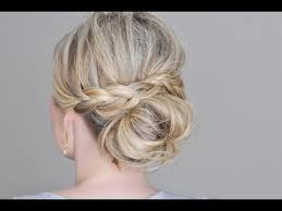 Messy Bun With A Braided Wrap Youtube