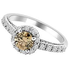 brown diamond engagement ring 0 91ct chagne brown diamond halo bridal engagement ring
