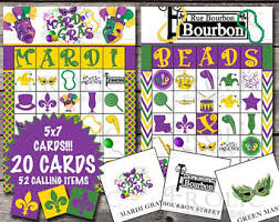 mardi gras bingo tuesday ideas etsy